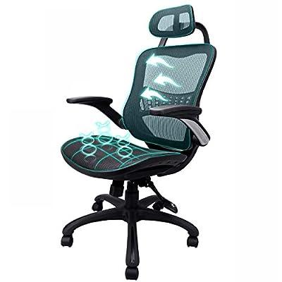 Komene Ergonomic Home Office Desk Chair, Breathable Mesh High Back Desk Chairs, Adjustable Headrest Tilt Recline Backrest and Flip-up Armrests, Swivel Computer Executive Chairs, PC Work Chair Black