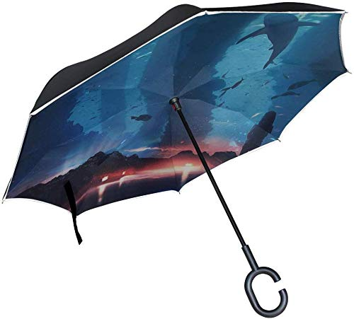 Silhouette Aquarium Inverted Umbrella Große Doppelschicht Outdoor Regen Sun Car Wendeschirm