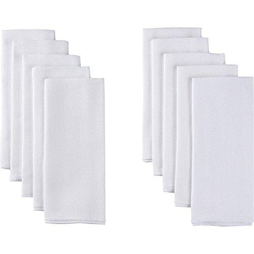 Gerber Birdseye Pañales de tela de pliegue plano, color blanco, 10 unidades