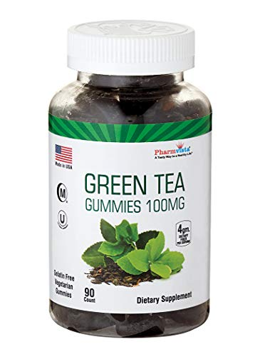 Green Tea & Peppermint Gummies 100mg - Gluten Free, Sugar Free, Antioxidant/Mineral Rich Snack - 90 Count