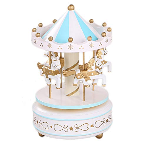 Ysoom Carosello Carillon In Legno Classico Giostra Carillon Carillon Con Musica Cavallo Decorazione Bambini Regalo Di Compleanno Blu