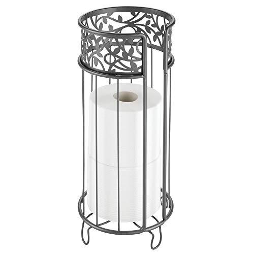 mDesign Toilettenpapierhalter freistehend – moderner Papierrollenhalter fürs Badezimmer – Klopapierhalter mit Halterung für 3 große Reserverollen – grau