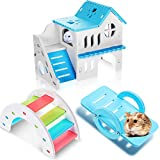 3 Pieces Hamster Toys Include DIY Wooden Hamster House, Rainbow Bridge, Hamster Seesaw Toy Pet Sport Exercise Climbing Toy Hamster Cage Accessories for Small Hamsters Mice Gerbils and Other Small Pet