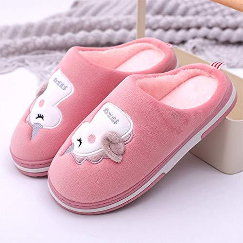 Zapatillas De Casa Mujer Casa Pareja Zapatillas Sandía Rojo Lindo Dibujos Animados Unicornio Patrón Señoras Algodón Zapatillas De Vestir Zapatos De Casa Mujer Casual Grueso Tacones Planos,36,37