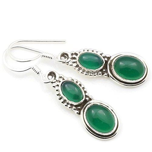 Pendientes de plata 925 con ónix verde (No: MOH 117-14)