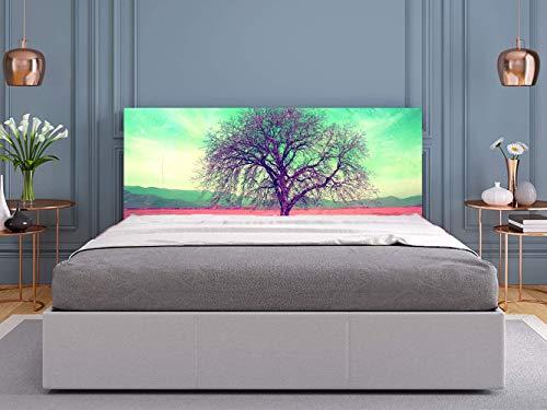 Cabecero Cama PVC Árbol en Cielo Verde 135x60cm | Disponible en Varias Medidas | Cabecero Ligero, Elegante, Resistente y Económico