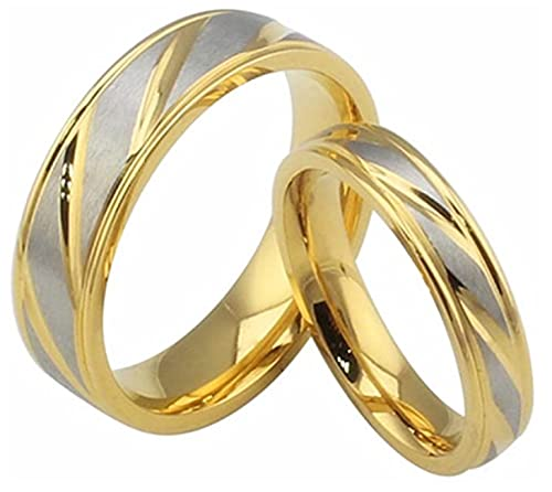 GJPSXTY Joyería Mujeres Hombres Acero Inoxidable 18K Oro Plateado Anillo Promesa Cruzada 25