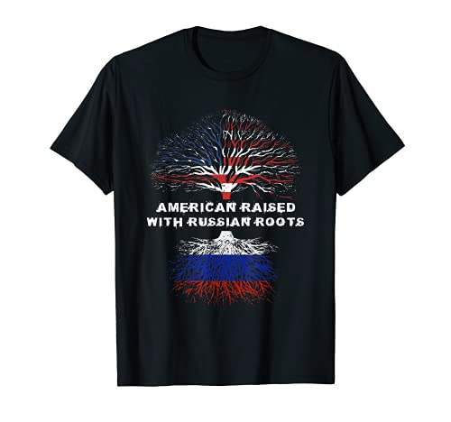 American Raised with Russian Roots Russia USA Flag T-Shirt