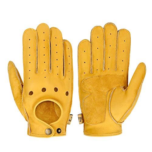 Guantes Moto Guante de Moto, Pantalla táctil, Hebilla de Cuero con punzón Amarillo, Guante de Moto para Mujer, Guante de Motocross Antideslizante Resistente al Desgaste