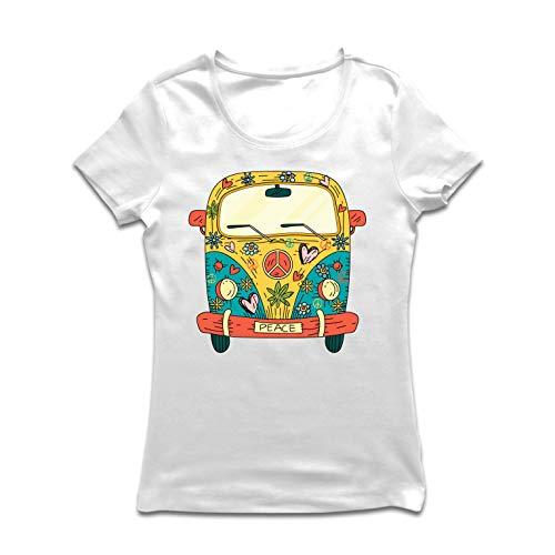 lepni.me Frauen T-Shirt 60er Jahre 70er Jahre Hippie-Van, Blumen, Liebe, Symbol für Friedensfreiheit (Large Weiß Mehrfarben)