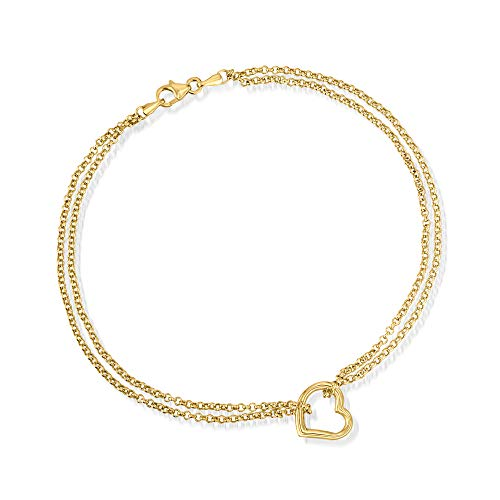 Ross-Simons 14kt Yellow Gold 2-Strand Heart Center Anklet. 10 inches