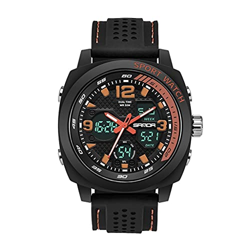 Thomm Reloj Deportivo para Hombres Doble Doble Pantalla de Moda Relojes Impermeables para Hombres Reloj de muñeca táctica Reloj de Cuarzo (Color : C)