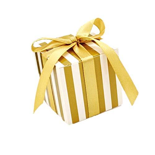 JZK 50 Striscia bianco oro scatola portaconfetti scatolina bomboniera segnaposto portariso per matrimonio compleanno Natale laurea nascita battesimo