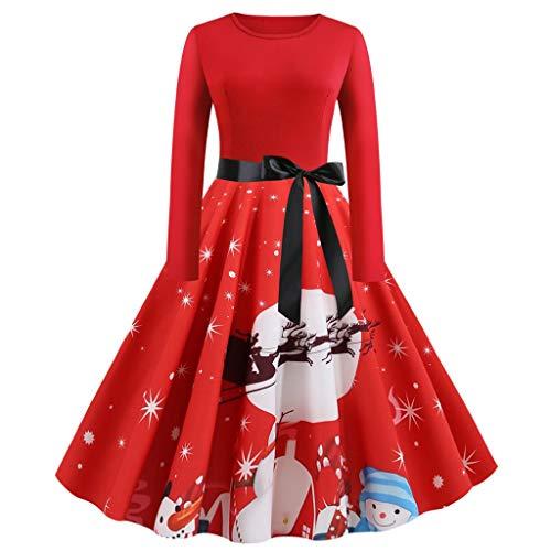 LOPILY Weihnachtskleid Damen Elegant mit Schleife Abendkleider Große Größen mit Weihnachten Motiven Langarm Ausgestellte Weihnachtskleider Ausgefallen Christmas Buchstaben Spitzenkleider (Rot, 2XL)