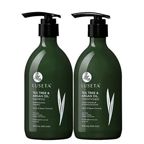 Luseta Tea Tree & Argan Oil Shampoo & Conditioner Set 2x16.9oz for Damaged and Oil Hair - Clarifying,Hydrating and Fighting Dandruff - Sulfate and Paraben Free for Men and Women