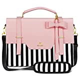 Laptop Bag for Women, 15.6 inch Slim Computer Briefcase Sleeve Case, Lightweight Cute Girls Messenger Shoulder Carrying Work Bag with Rfid Pocket for Office Travel School Fits 15.6 inch Notebook, Pink