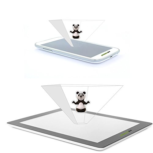 GREEN24 purital® 3D Dual Set Hologramme Pyramiden Projektor Folien für Handy Smartphone und Tablet - Laser Holographic (Dual Set 2er Smartphone 1er Tablet)