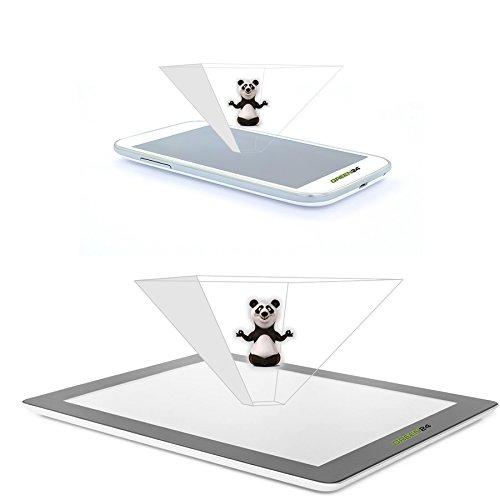 GREEN24 purital® 3D Dual Set Hologramme Pyramiden Projektor Folien für Handy Smartphone & Tablet - Laser Holographic (Dual Set 2er Smartphone 1er Tablet)