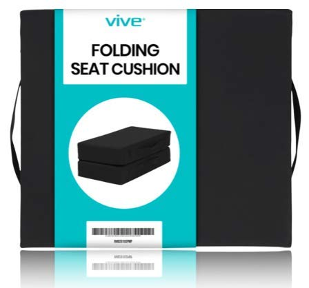 Vive Foldable Wheelchair Cushion - Seat Pad for Mobility Scooter, Transport and Office Chair - Comfort Support Pillow for Lower Back Pain, Stress and Reduced Pressure - Washable Cover (20 x 16 Inch)