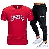 GIRLXV Camiseta De Manga Corta para Hombre Protector Solar para Correr Camiseta De Fitness Backwoods Camiseta Traje Pantalones Casuales Traje Deportivo Superior M