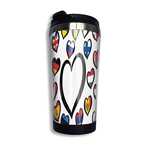 Song Festival Europe Song Festival Eurovision Wettbewerb 2019 Logo Symbol Reise Kaffeetasse mit Klappdeckel, Vakuumisolierter Becher aus Edelstahl 14 OZ, lustiger Becher für Männer Frauen Kinder