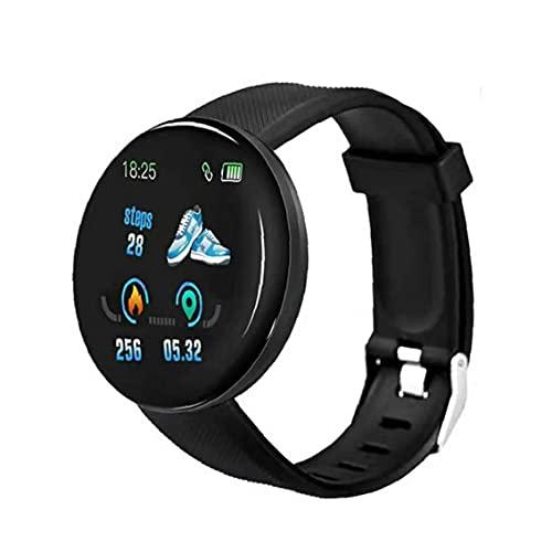 Tuimiyisou Reloj Inteligente con Impermeable Reloj de la Aptitud del perseguidor del Reloj Inteligente D18 Ronda Reloj Inteligente Ritmo cardíaco Medición para Hombres Mujeres Niños Negro