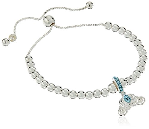 Disney Sterling Silver Cinderella Carriage Beaded Lariat Charm Bracelet