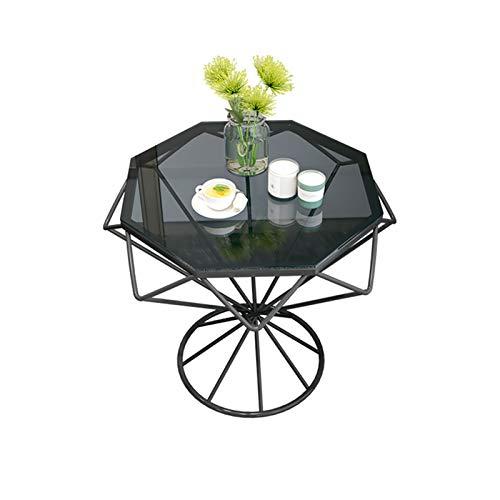 YNN Mesa Auxiliar Moderna con Acento, sofá de Vidrio para Sala de Estar, Mesa de Centro nórdica con Marco de Metal, 56x45cm(Color:Negro)