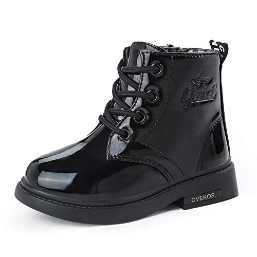 WYSBAOSHU Toddler Girl's Boots Baby Girls Side Zipper Lace-Up Fur Lined Water Resistant Ankle Boots Black 7.5 Toddler