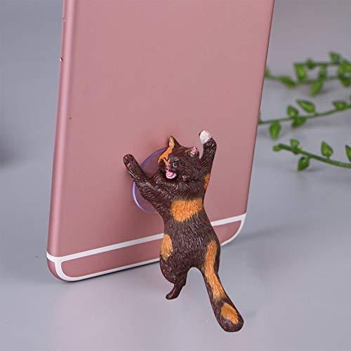 LeftSuper Soporte Universal para Gato Lindo Soporte para teléfono móvil de Resina Soporte para tabletas con Ventosa Soporte para teléfono Inteligente con diseño de Ventosa para Escritorio