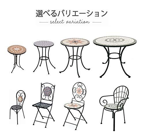 武田コーポレーション【イングリッシュ調・ガーデン・パーク・テーブル】タイルテーブルφ76㎝グリーン(TIR7-76TGR)