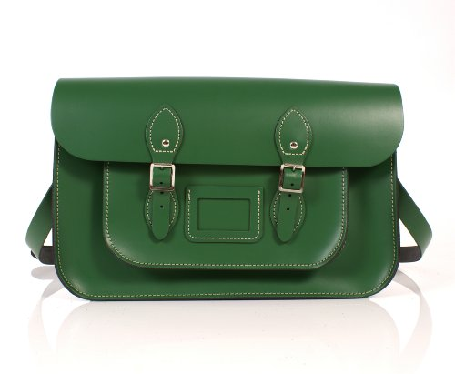 15' Sherwood Green English Leather Satchel Classic Retro Fashion laptop/school bag