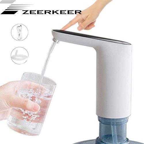 Wasserflasche Pumpe, Elektrische Lade Wasserspender Eingebaute 1200 mAh raufladbare Batterie Berührungsschalter mit USB-Ladegerät Tragbarer Wasserspender für Zuhause, Küche, Büro
