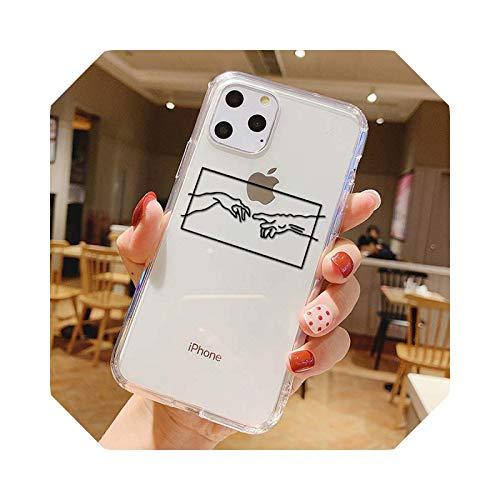 Mona Lisa Art David - Funda para iPhone 12 11 XS MAX XR 6S 7 8 Plus SE2020 TPU transparente Coque-40020-para iP6 o iP6s