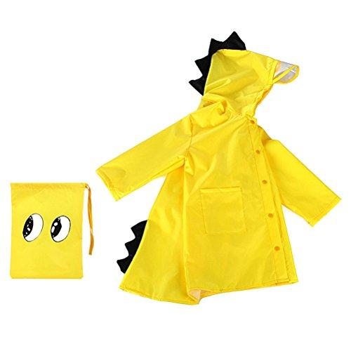 Capa de chuva infantil LIOOBO em formato de dinossauro com capuz e poncho de chuva para crianças e meninos tamanho M - (amarelo)