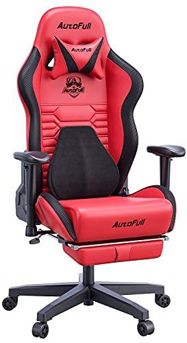 AutoFull - Silla de oficina, silla para videojuegos con soporte lumbar ergonómico, estilo de carreras, piel sintética, respaldo alto, ajustable, giratoria, con reposapiés, color...