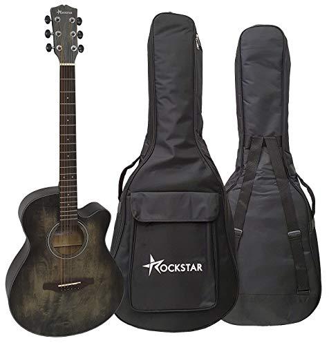 Guitarra acústica folk forma auditorio Rockstar SA-4000BK con cutaway cuerdas metálicas y funda - rockmusic