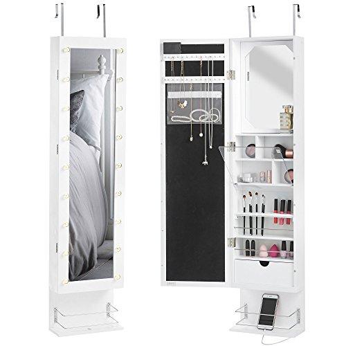 Beautify — Meuble de rangement blanc mural ou suspendu pour porte — Éclairage LED — Armoire avec miroir intégral — Compartiments intérieurs — Présentoir à bijoux — Miroir et tiroir internes