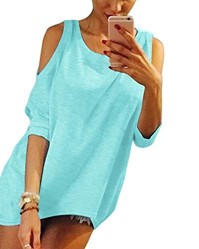 YOINS Sexy Schulterfrei Oberteil Damen Sommer Oberteile Frauen Bluse Elegant Sommer Tshirt Tunika Tops Damen Sommer Blau EU48