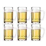 Juego de 6 tazas de cerveza de cristal, 400 ml, también conocida como jarra de cerveza con hoyuelos, taza de cerveza britannia, cerveza alemana Stein,6 juegos-400 ml