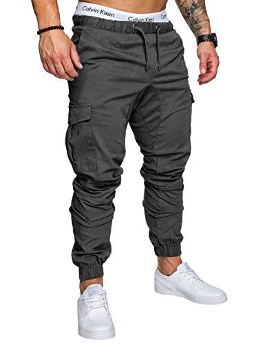 HAHAEMMA Herren Hosen Slim Fit Cargo Chino Casual Jogger Sporthose Freizeithose Jeans Hose mit Taschen Joggers Activewear Hosen Stretch Schwarz Herbst Winter M-4XL(DG,L)