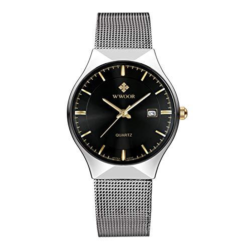 WWOOR Reloj de pulsera para hombre de negocios con correa de acero inoxidable, 30 m resistente al agua, resistente al desgaste, antialérgico o de uso diario comercial y otras ocasiones(NEGRO)