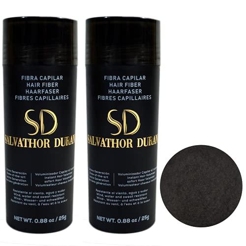 Fibres Capilaires Salvathor Duran 25 grammes – Pack Duo - Fibre de Cheveux (Châtain Foncé.)