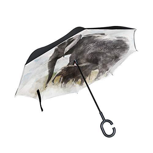 rodde Kappe mit C-förmigen Griff Reverse Double Layer Inverted für Regen Outdoor Windproof Umbrellas Elephants