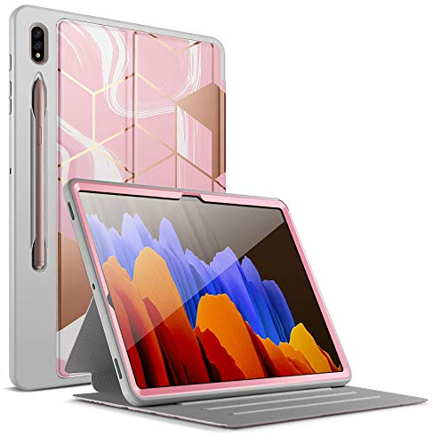 Popshine Marble Series for Samsung Galaxy Tab S7 Plus Tablet Case, 12.4 Inch (2020 release) SM-T970/ SM-T975, Full Body Premium Protective Folio Cover with S Pen Holder, Liquid Marble Pink