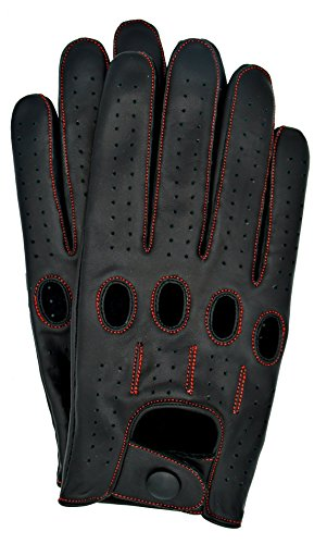 Riparo Genuine Leather Full-finger Driving Gloves (Large, Black/Red Thread)