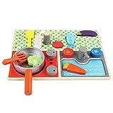BOENXUA Kinderküche Spielküche Aus Holz, Kinder Küche Spielspielzeug Set Mit Gemüse, Spatel, Topf, Tragbar Lernspielzeug Spielküche Als Perfekte Vorbereitung Geschenk Für Kinder,Multi Colored