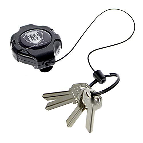 Heavy Duty Retractable Ratchit Keychain Tether Reel for Multiple Keys with Clip - Stays Extended Kevlar Cord Lanyard Leash by Specialist ID, Sold Individually (Black/Belt Clip)