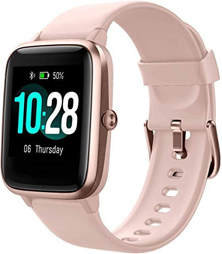 Reloj inteligente de pulsera de actividad, ID205L para hombres y mujeres deportes impermeable Smartwatch pantalla táctil completa reloj de color rosa
