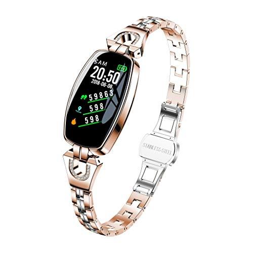 ALOVEMO 2019 New Fitness Tracker Waterproof Smart Watch Pedometer H8 Color Screen Blood Pressure/Heart Rate Monitor Smart Bracelet Watch (Rose Gold)